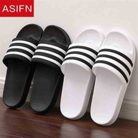 AsiSIFN Slippers for Men Beach Flip Flobs Mascule Pareja Diapositivas Suave Blanco y Negro Rayas EVA Zapatos de verano Casual Zapatos Hombre 210325