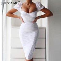 Повседневные платья Julissa Mo белый без бретелек сексуальное ведро платье женщин половые рукава лето плиссированные длинные элегантные тощие ночные вечеринки Vestidos