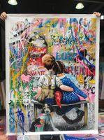 ARTINLIFFIFE MAINGMADE PEINTURE PEINTURE PEINTAILLES PEINTURE DE TOILLAGE DU LINE TOILLAGE MATERIAUX LONGLASTANT POUR LA MAISON ET LA COLLECTION DE GALERIE DE DÉCOPORES POPART N.179 Banksy Love Couple Boy