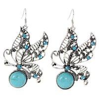 women's hollow butterfly Tibetan silver turquoise Charm earrings DYMTQE093 fashion gift national style women DIY earring