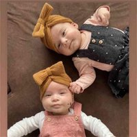 Autumn And Winter Baby Waffle Knitted Wool Bow Hat Headbands Caps Infant Unisex Children's Hat Outdoor Warm Windproof Hats BWA9499