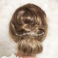 Hair Clips & Barrettes Stonefans Elegant Bridal Accessories Leaves Rhinestone Crystal Headband Women Bride Head Chain Headpiece Headdress Je