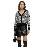 Women's Jackets Autumn European American Style Fashion V-Neck Long-Sleeved Knitted Cardigan Coat Women