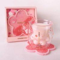 한정판 스타 벅스 코스터 고양이 클로 커피 머그잔 장난감 사쿠라 6 온 핑크 더블 벽 유리 컵