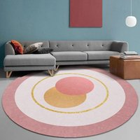 Carpets Pink Round Rug For Girl Bedroom Living Room Modern Kichen Floor Mats Soft Big Area Rugs Non-slip Kids Parlor Play Mat