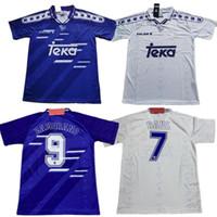 94 96 97 98 98 99 2000 Retro Jersey 3 # R.Carlos 4 Hierro # 7 Raul # 9 Zamamorano # 6 Redondo 8 # Mijatovic Shirts Vintage Calcio Camiseta de Futbol