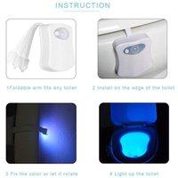 Luzida do toalete da noite das luzes da noite da decoração da luz 8 e 16 cor do corpo humano da cor Lâmpada de indução esperta que pendura o backlight automático do RGB para a iluminação interna da tampa da tigela do banheiro