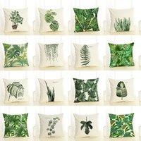 وسادة القضية ins المنتج الأخضر النبات المخدة المطبوعة القطن الكتان أريكة وسادة السرير مسند الظهر حقيبة لينة