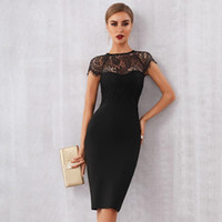 Casual Dresses 2021 Summer Women White Lace Bandage Dress Sexy Black Short Sleeve Midi Hollow Out Celebrity Style Club Party