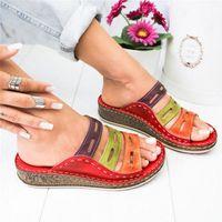 Sorriante de Verão Sorriante Mulheres Costura Chinelos 2020 Senhoras Open Tee Sapatos Casuais Plataforma Cunha Slides Praia Mulher Sandálias N73G #