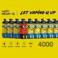 정통 Meshking Mesh-Q 일회용 전자 담배 미니언 만화 디자인 4000 퍼프 vape 펜 12ml 사전 채워진 메쉬 코일 포드 기화기 650mAh 충전식 배터리