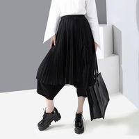 Kadın Pantolon Capris 2021 Bahar Kadın Moda Pileli Splice Sahte 2 adet Çapraz Etekler Kadın Japonya Streetwear Hip Hop Gotik Harem Pantolon