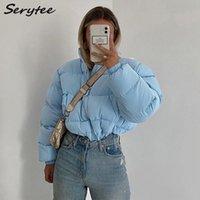 Serytee Women's Down Outerwear Autumn Winter Warm Bubble Bomber Jacket Women Coat 2021 Turtleneck Long Sleeve Cropped Puffer Jackets Streetwear Casual