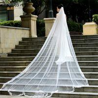 Gelin Veils Topqueen V75 Uzun Düğün Peçe 4 Metre İspanyol Dantel Battaniye Katedrali Ekstra Kraliyet Veu
