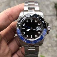 Relojes de alta calidad negro GMT II Relojes 2813 Movimiento azul / rojo cerámico bisel de zafiro de zafiro de zafiro de 40 mm relojes de pulsera DP Factory