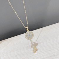 Chains BOTU 2021 Creative Key Pendant Necklace Retro Female Gold Color Simplicity Temperament Micro Inlaid Zircon Jewelry For Women