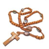 Cuentas de madera Preparación Jerusalén Religioso Católico Joyería Cross Jesús Rosario Collar