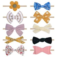 10pcs set Baby Girl Headbands with Bows Nylon Hairbands Handmade Hair Accessories for Newborn Infant Toddlers