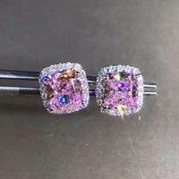 Trendy 2ct Labor Rosa Diamant Ohrring Echt 925 Sterling Silber Schmuck Engagement Hochzeit Ohrringe für Frauen Männer Party Geschenk