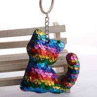 Lentejuelas de gato animal llaveros de plata moda vintage lindo llavero llavero anillos de joyería regalo charms titular llaveros para mujeres niñas