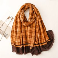2021 Polyester fashion joker color plaid Scarf High Quality Beach towels National Wind Long Scarves For Women Wrap Shawl Stole 74