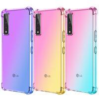 LG 스타일러스에 대 한 그라디언트 다채로운 Shockproof 투명한 투명 TPU 전화 케이스 7G 6 5 K92 K71 K62 K52 K42 K22 Velvet Velvet2 Pro K51S K50S K60S K41S K51 K61 Q61 V60 ThinQ