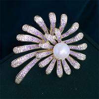Épingles, Broches Belle Rose Purple Cristal Zircon Pins Femmes De Luxe Bijoux Costume Broet Bouquet De Mariage Pin broche Femme Bijoux