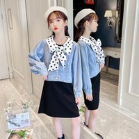 Clothing Sets Spring Autumn Kids Polka Dot Bowknot Denim Jackets And Black Sleeveless Dress Two Pieces Teenage Girls Outfits