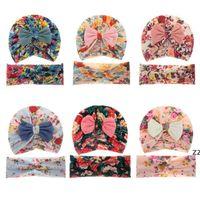 American Baby Headwear Caps Bambino Stampato a due pezzi Set Set Bambini Archi The Fetus Caps Stretch Cross Hair Band Cappello neonato HWF10328