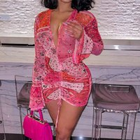 Costumi da bagno da donna Pink Bandana Mesh BodyOCN Dress Dress Abiti da club per le donne a maniche lunghe a maniche lunghe con scollo a V Stringa Mini D85-Be12