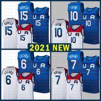 كرة السلة جيرسي فريق أمريكا 2021 الولايات المتحدة الأمريكية طوكيو أولمبياد الصيف دميان 6 ليلارد كيفن 7 دورانت جايسون 10 تاتوم ديفين 15 بوكر الأزرق الداكن الأبيض