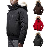 Bomber Jacket XS-XXL Amy Green Goose Outwear Short Down Coat DHL Mens Warm Detachable Hat Fashion Casual Outdoor