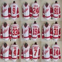 디트로이트 레드 날개 빈티지 유니폼 91 Sergei Fedorov 4 마크 Howe 7 Ted Lindsay 10 Alex Delvecchio 17 Brett Hull Mens Hockey Jerseys