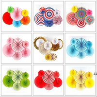 Chinese Printing Vintage Wheel Tissue Paper Hanging Fans Flower Craft Birthday Party Wedding Baby Shower Setting Wall Decoration HWF9037