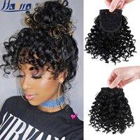 hairro new curly bangs kinky 곱슬 가짜 머리카락 쾅하는 흑인 사람들을위한 헤어 피스에 합성 헤어 익스텐션 클립
