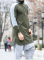 Ethnic Clothing European And American Men's Robe Solid Color Slim Mid-Length Fashion Hoodie 2021 Leisure Fitness Plus Size Sportswear S-4XL