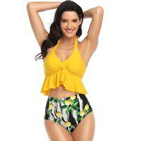Women's Swimwear Summer Printed High Waist Bikini Set Ruffle Split Swimsuit Ladies Sling Two-Piece 2021 Beach Bay