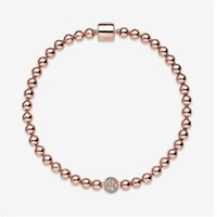 Hot sales Beautiful Women's Beads Pave 18k Rose Bracelet Summer Jewelry for Pandora 925 Sterling Silver Hand Chain Beaded bracelets With Original box