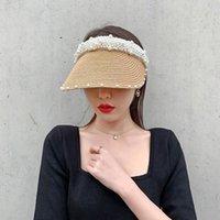 Yaz Kadın Hasır Şapka El Yapımı Inci Plaj Çim Boş Şapka Kadın Güneş Visor Moda Retro Ünlü Kap