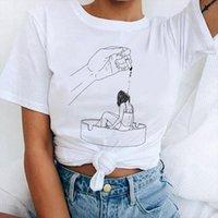 Mode dames fumant soeur hommes hauts photo rétro streetwear harajuku tee amp haut ligne peint à la main vouge print
