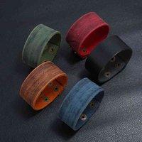 Wide Vintage Simple Belt Design 3-3.8cm Men Leather Genuine Bracelet Wrap Bracelets Retro Hand Strap Cuff Bangles