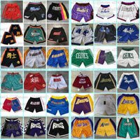 Hommes Just Don Don Shorts Edition Rétro Team Team Name cousu juste Don Pocket Basketball Shorts Stitch City Teams Nom Année ID Tags 01