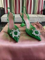 Yeşil Amina İtalya Muaddi Sandal Pompalar 95 Begum Cam PVC Ayakkabı Sling Kristal Parit Paris Piramit tarzı Topuk Kim Kardashian