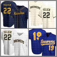 Milwaukee Baseball Jersey Brewers Personalizado 22 Christian Yelich 19 Robin Yount 6 Lorenzo Cain 8 Ryan Braun 21 Travis Shaw 7 Eric Tamisa