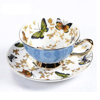 Cups & Saucers GLLead Bone China Coffee Cup Sets Colorful Butterfly Ceramic Tea And British Office Teacup Porcelain Nice Gift