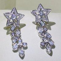 Clip-on parafuso de volta Único jóias de luxo 925 esterlina prata clipe brincos estrela 5a branco cliear zirconia longa hyperbole mulheres presente