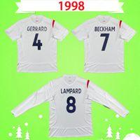 England 2006 الرجعية لكرة القدم جيرسي بيكهام أوين روني لامبارارد خمر camiseta دي فوتبول كول walcott جيرارد جيمس كروس المنزل الأبيض بعيدا كرة القدم قميص طويل الأكمام قصيرة