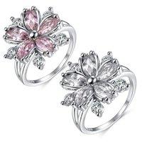 결혼 반지 신부 쥬얼리에 대한 우아한 패션 사쿠라 공주 약혼 낭만적 인 벚꽃 지르콘 아가씨