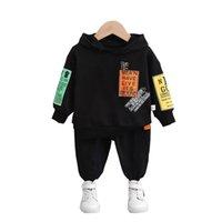 İlkbahar Sonbahar Bebek Kız Giysileri Çocuk Erkek Pamuk Mektup Hoodies Pantolon 2 Adet Set Toddler Moda Kostüm Çocuk Eşofmanları 210914