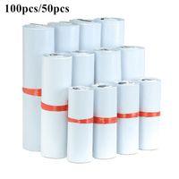Saklama Torbaları 100 adet / grup Beyaz Kurye Çantası Express Zarf Posta Kendinden Yapışkanlı Mühür PE Plastik Kılıfı Ambalaj 8 Boyutları